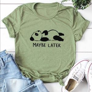 Cartoon Panda Graphic Tee Shirt in Green